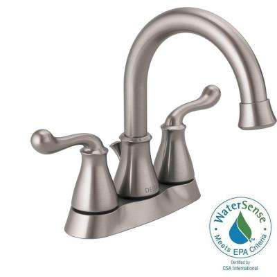 Southlake 4 in. Centerset 2-Handle Bathroom Faucet with Metal Drain Assembly in Brushed Nickel