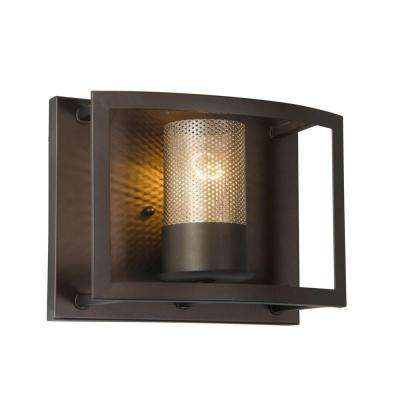 Jackson 1-Light Rustic Bronze Vanity Light with Arched Windowpane Glass