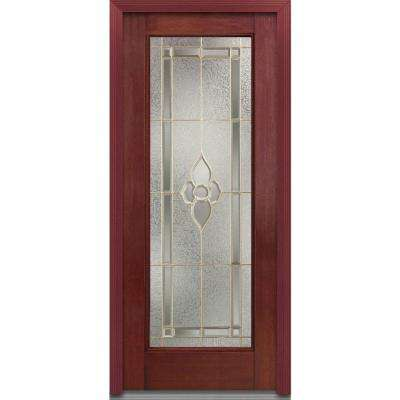 33.5 in. x 81.75 in. Master Nouveau Decorative Glass Full Lite Finished Fiberglass Mahogany Exterior Door