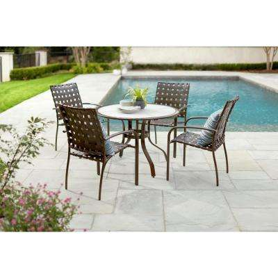 40 in. Commercial Aluminum Round Outdoor Acrylic Top Dining Table in Brown