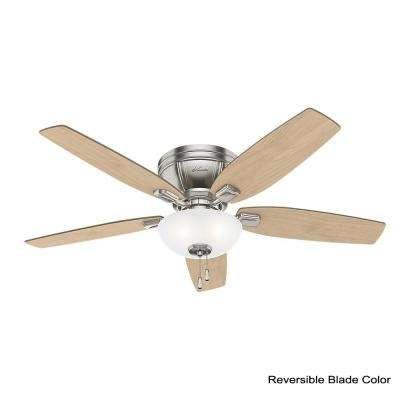 Kenbridge 52 in. LED Low Profile Indoor Brushed Nickel Ceiling Fan with Light Kit