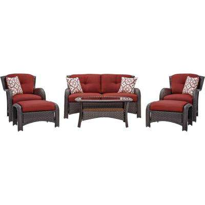 Strathmere 6-Piece All-Weather Wicker Patio Set with Crimson Red Cushions