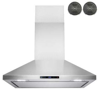 36 in. Convertible Kitchen Wall Mount Range Hood in Stainless Steel with LEDs, Touch Control and Carbon Filter