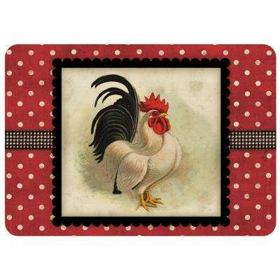 Polk-A-Dot Cream and Black Rooster 22 in. x 31 in. Polyester Surface Mat