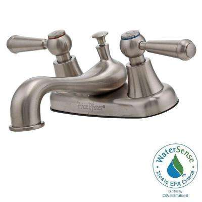 Pfirst 4 in. Centerset 2-Handle Mid Arc Bathroom Faucet in Brushed Nickel