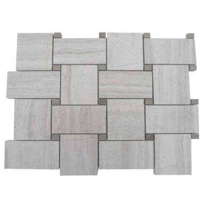 Basketbraid Wooden Beige and Athens Gray Dot Floor and Wall Tile - 6 in. x 6 in. Tile Sample
