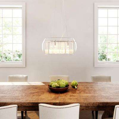 Baxendale 5-Light Chrome Chandelier with Clear Glass Shade and  Clear Hanging Crystals