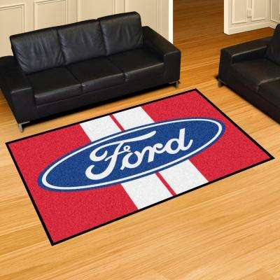 Ford Red 8 ft. x 5 ft. Indoor Area Rug