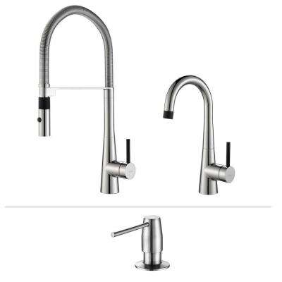 Crespo Flex Single-Handle Commercial Style Kitchen Faucet and Bar Faucet with Soap Dispenser in Chrome