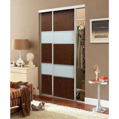 Sequoia Anodized Aluminum Frame Walnut and White Painted Glass Interior Sliding Door
