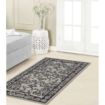 Halstead Border Gray Jacquard Chenille 2 ft. x 3 ft. Textured Area Rug