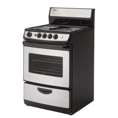 24 in. 2.14 cu. ft. Single Oven Electric Range with Manual Clean Oven in Stainless Steel