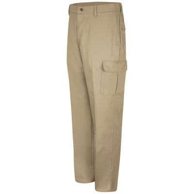 Men's Khaki Cotton Cargo Work Pant