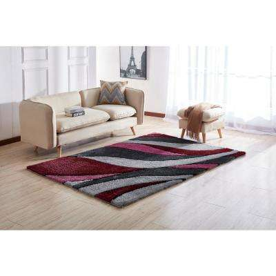 """""""Aria Collection"""" Soft Pile Hand Tufted Shag Area Rug in Red (5-ft x 7-ft)"""