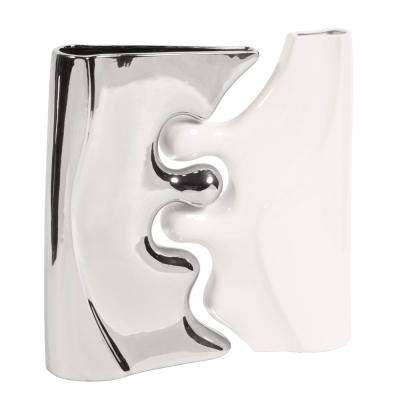 Bright Nickel Plated and Glossy White Ceramic Puzzle Decorative Vases (Set of 2)