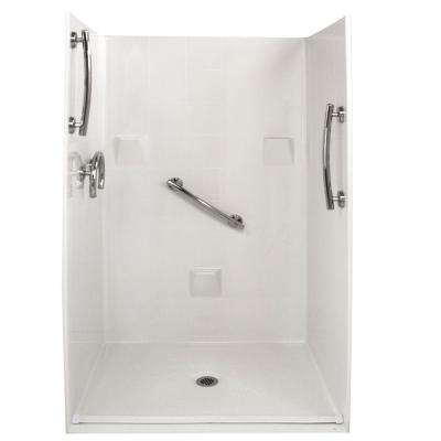Freedom 37 in. x 48 in. x 78 in. Barrier Free Roll-In Shower Kit in White with Center Drain