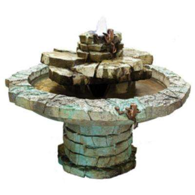 Cast Stone Fountain with Bronze Climbing Frogs