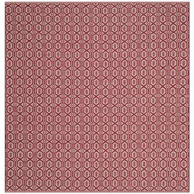 Montauk Ivory/Red 6 ft. x 6 ft. Square Area Rug