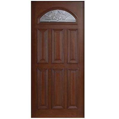 36 in. x 80 in. Mahogany Type Fan Lite Glass Prefinished Antique Beveled Zinc Solid Wood Front Door Slab