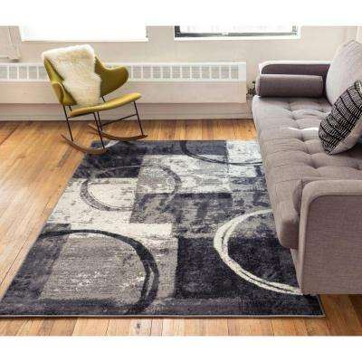 Ash Spheres Watercolor Grey 8 ft. x 10 ft. Contemporary Area Rug