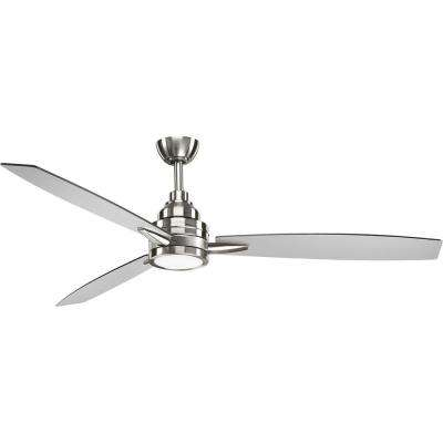 Gaze Collection 60 in. LED Indoor Brushed Nickel Modern Ceiling Fan with Light Kit and Remote