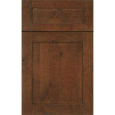 14 in. x 12 in. Beverly Cabinet Door Sample in Knotty Alder Walnut Ebony Glaze