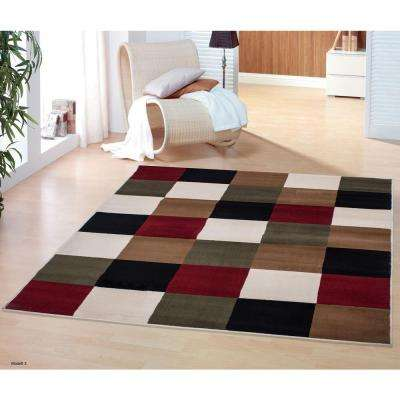 Clifton Collection Modern Boxes Design Multi 5 ft. x 7 ft. Area Rug