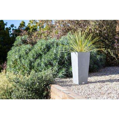 Midland 32 in. Charcoal Plastic Tall Square Planter