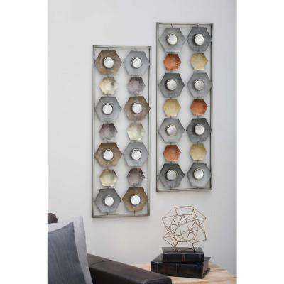 35 in. x 12 in. Iron and Mirror Abstract Wall Panel in Distressed and Hammered Finish (Set of 2)