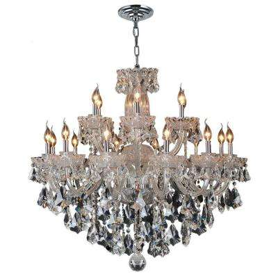 Olde World 18-Light Chrome and Clear Crystal Chandelier