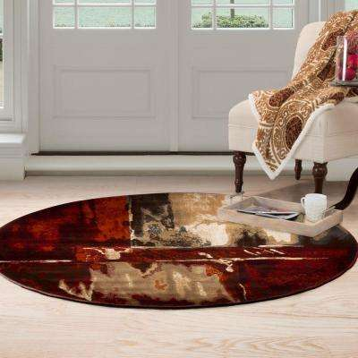 Opus Artfully Abstract Red 5 ft. x 5 ft. Round Area Rug