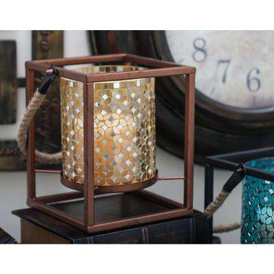 19 in. x 8 in. New Traditional Iron Golden Mosaic Lantern
