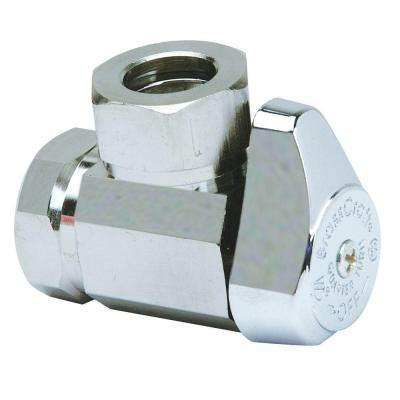 1/2 in. FIP Inlet x 7/16 in. and 1/2 in. O.D. Slip-Joint Outlet Brass 1/4-Turn Angle Valve (5-Pack)