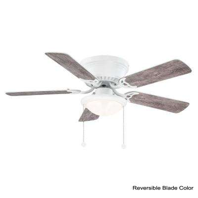 Hugger 44 in. LED Matte White Ceiling Fan