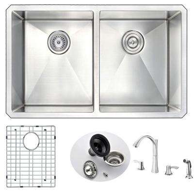 VANGUARD Undermount Stainless Steel 32 in. Double Bowl Kitchen Sink and Faucet Set with Soave Faucet in Brushed Nickel