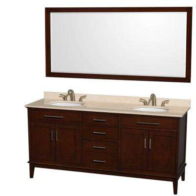 Hatton 72 in. Vanity in Dark Chestnut with Marble Vanity Top in Ivory, Sink and 70 in. Mirror