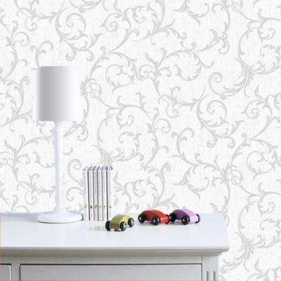 Empress Scroll Silver Removable Wallpaper Sample