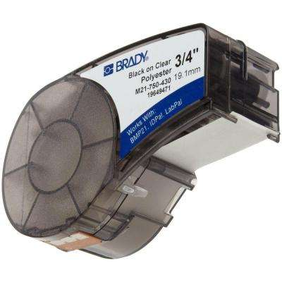 Black-on-Clear Polyester Label Printer Cartridge