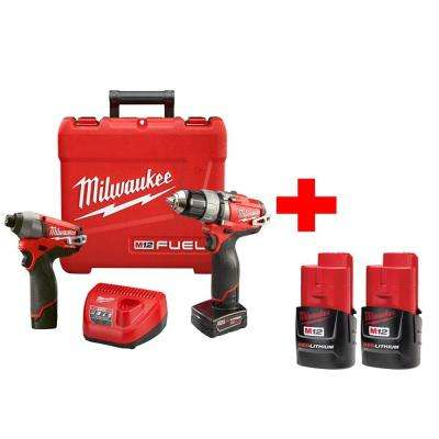 M12 Fuel 12-Volt Lithium-Ion 1/2 in. Hammer Drill/Driver and Impact Combo Kit with Free M12 Compact Battery (2-Pack)