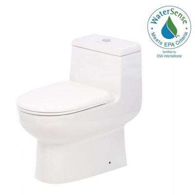 Magic Flush 1-Piece 1.6/0.8 GPF Dual Flush Elongated Toilet in White