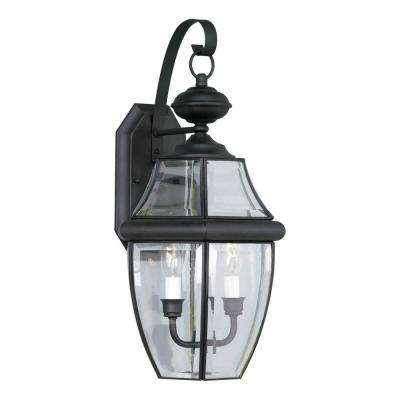 2-Light Outdoor Black Wall Lantern with Clear Beveled Glass