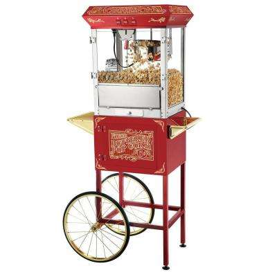 Popcorn Red Old Time 8 oz. Popcorn Popper Machine with Cart