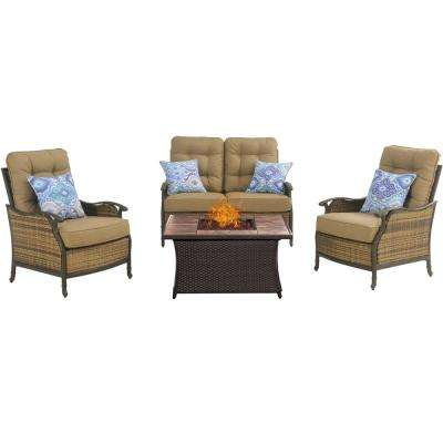 Hudson Square 4-Piece Patio Fire Pit Conversation Set with Tan Tile Top and Teak Cushions