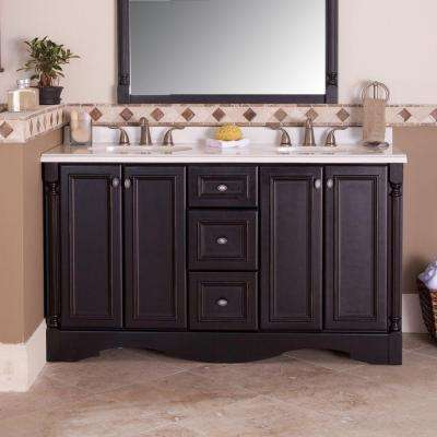 Valencia 60 in. W x 34 in. H x 21 in. D Bath Vanity Cabinet Only in Antique Black