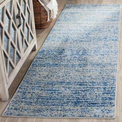 Adirondack Blue/Silver 3 ft. x 20 ft. Runner Rug