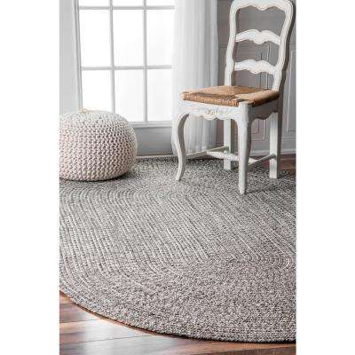 Braided Lefebvre Salt and Pepper Indoor/Outdoor 7 ft. 6 in. x 9 ft. 6 in. Oval Rug