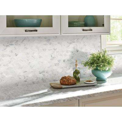 Calacatta Blanco 12 in. x 13 in. x 10 mm Polished Marble Mesh-Mounted Mosaic Tile (1.08 sq. ft.)