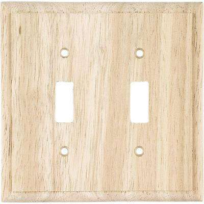 2 Toggle Switch Wall Plate - Unifinished Solid Oak