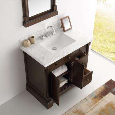 Kingston 36 in. Vanity in Antique Coffee with Marble Vanity Top in Carrera White with White Ceramic Basin and Mirror