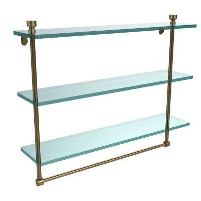 Foxtrot Collection 22 in. 3-Tier Glass Shelf with Integrated Towel Bar in Brushed Bronze